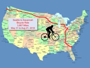 Map of Cross Country Bike Ride